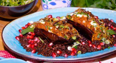 Fyllda auberginehalvor med belugalinser, 4 port, ca: 45 min.