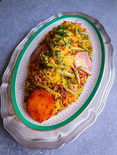 Lobia Polo, persiskt ris med köttfärs och gröna bönor