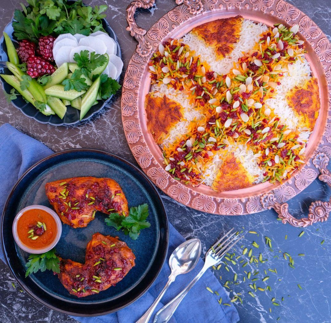 Zereshk polo ba morgh – Kyckling med Saffransris och berberisbär, 4-6 portioner